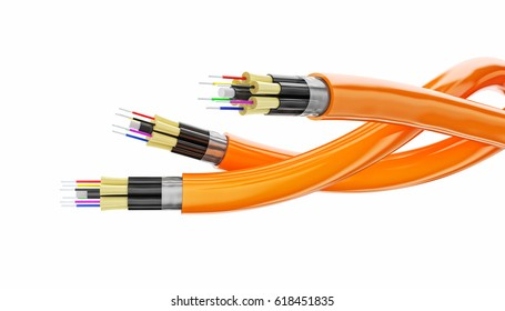 optical fiber concept 3d rendering image isolated on white background