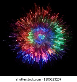 Optical fiber produce in the darkness a circle with colorful points of light.
