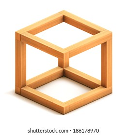 Optical illusion. Impossible geometrical figure. Wooden box. Isolated on white background. 3d render