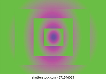 Optical illusion pattern of squares with green and purple