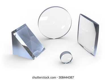 Optical lenses isolated on white
