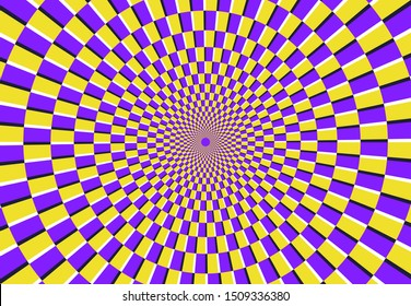 Optical spiral illusion. Magic psychedelic pattern, swirl illusions and hypnotic abstract background. Abstract spiral motion, circular fractal illusory hypnotherapy  illustration