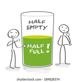 Optimism and pessimism. Two characters evaluate the content of the glass differently - half full, half empty