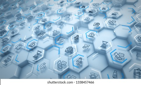 Optimistic 3d illustration of business hexagons with computer signs of screens, phones, texts, linked with each other through blue lines in the white backdrop in a cheery way.