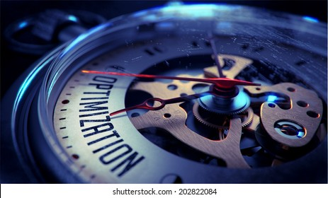 Optimization on Pocket Watch Face with Close View of Watch Mechanism. Time Concept. Vintage Effect.