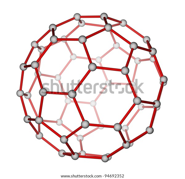 Optimized molecular structure of fullerene C60 on a white background