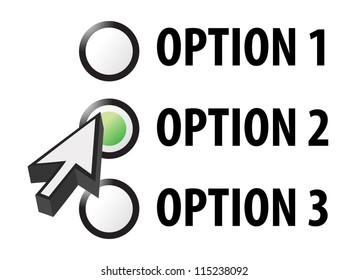 Option 1 2 or 3 selection illustration design