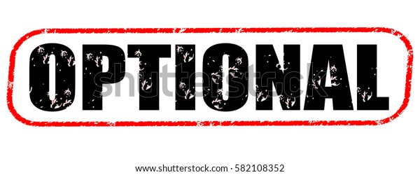 optional red and black stamp on white background.