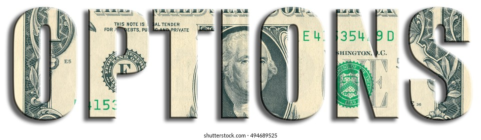 Options, type of financial instruments. US Dollar texture.