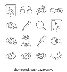 Optometry eyes health and oculist tools. Medical laser eye surgery, eyedropper, eyeball, eyesight ophthalmic lenses or glasses isolated simple black line icons set  illustration