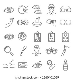 Optometry Signs Black Thin Line Icon Set Include of Eye, Vision Test, Oculist, Eyedropper, Eyeglasses and Lenses. illustration