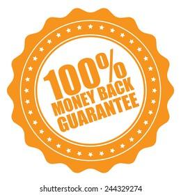 orange 100% money back guarantee icon, tag, label, badge, sign, sticker isolated on white
