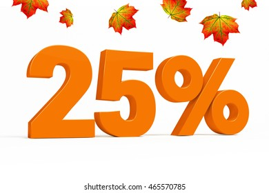 Orange 3d 25% percent text on white background with leaves for autumn sale campaigns. See whole set for other numbers.