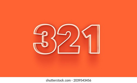 Orange 3d number 321 isolated on orange background coupon 321 3d numbers rendering discount collection for your unique selling poster, banner ads, Christmas, Xmas sale and more