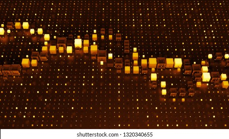 Orange 3d render digital background with abstract graph among grid pattern. Background for digital, blockchain or artificial intelligence theme presentation.