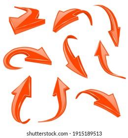 Orange 3d shiny arrows. Set of bent icons. 3d illustration isolated on white background. Raster version