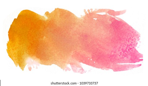Orange Abstract watercolor hand painted background, isolated on white background, watercolor textured backdrop, watercolor drop,