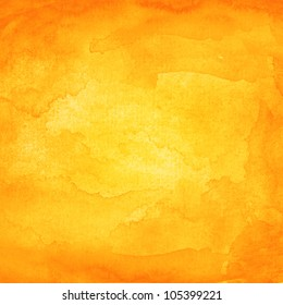 Orange abstract watercolor macro texture background. Colorful handmade technique aquarelle.