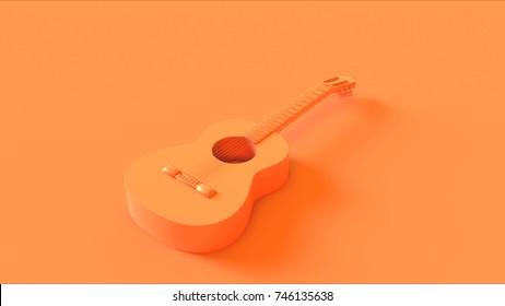 Orange Acoustic Guitar 3d illustration 3d rendering