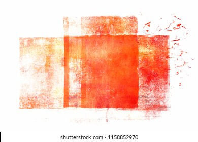 Orange acrylic paint rolled in abstract shape on white paper background