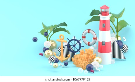 Orange anchor, boia and lighthouseamong the colorful balls on the blue background. - 3d render.