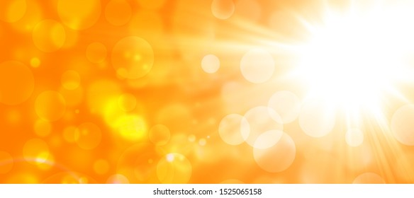orange autumn abstract background with sun and bokeh