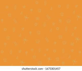 orangefarbener Hintergrund. Kombination aus Haus, Kokospalmen, Süßigkeiten, Stern, Leiter, Fernsehen, Kuchen und Dreieck.