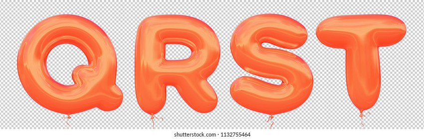 Orange balloon font Q,R,S,T made of realistic metallic air balloon 3d rendering. Collection of brilliant balloons letter with Clipping path ready to use for your unique decoration Halloween and more