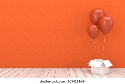 Orange balloons floating and white open box with wooden floor on orange wall background.Image mock up of festival, event marketing,party,Christmas and New Year concept in 3d rendering,3d illustration