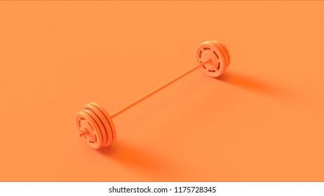 Orange Barbell 3d illustration 3d rendering