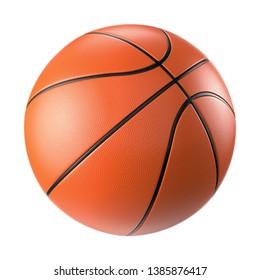 Orange basketball ball isolated on white background. 3D illustration