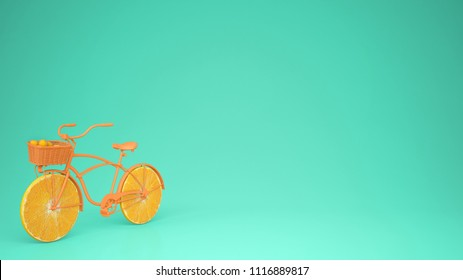 Orange bike with sliced orange wheels, healthy lifestyle concept with blue pastel background copy space, 3d illustration