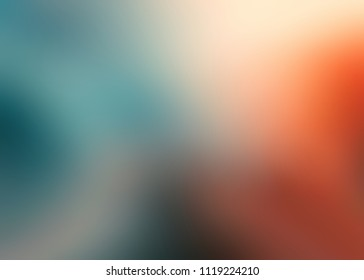 Orange blue blurred pattern on white background. Art empty template. Gleam abstract texture. Ombre pattern. Warm and cool gradient.