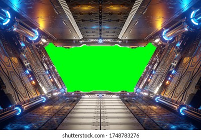 Orange and blue futuristic spaceship interior with green window screen 3d rendering