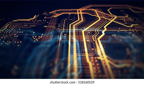 Orange and blue technology background circuit board and html code,3D illustration. Orange and Black technology background. 3D Rendering