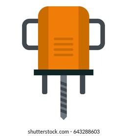 Orange boer drill icon flat isolated on white background  illustration