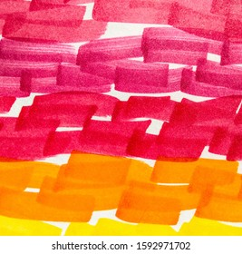 Orange Brown Paintbrush Hipster Marker Stripes. Cinnamon Copper Boho Hand Drawn Stroke. Fuchsia Shibori Pattern Line. Aqua Energetic Positive Marker Stripes Backdrop.
