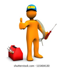 Orange cartoon character as electrician with OK Symbol. White background.