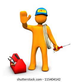 Orange cartoon character as electrician with toolbox and cable. White background.