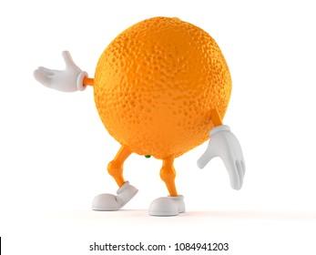 Orange character isolated on white background. 3d illustration