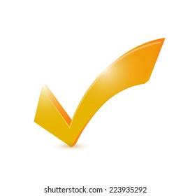 orange check mark illustration design over a white background