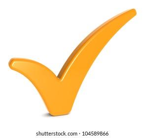 Orange Check Mark on Whitee background.