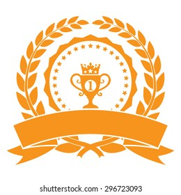 Orange Circle Blank Empty Wheat Laurel Wreath With No1 Trophy Ribbon, Label, Sticker, Banner, Sign or Icon Isolated on White Background