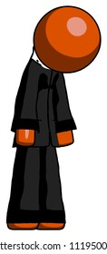 Orange Clergy man depressed with head down turned right