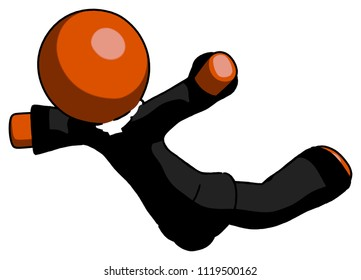 Orange Clergy man skydiving or falling to death