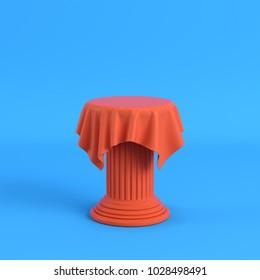 Orange cloth on a pedestal on bright blue background. Minimalism concept. 3d render