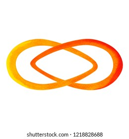 orange color of chakra symbol sacral concept, flower floral, watercolor painting hand drawn icon logo, illustration design sign