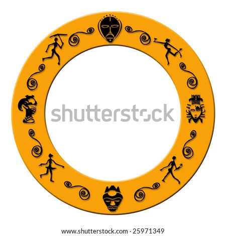 Orange Colored Round Frame Plastic African Stock Illustration