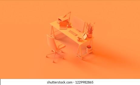 Orange Contemporary Office 3d illustration 3d rendering