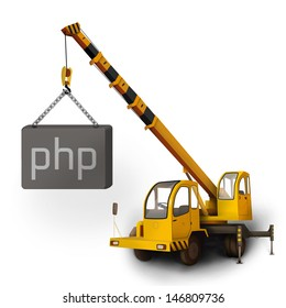 Orange crane and PHP box website icon. Create websites